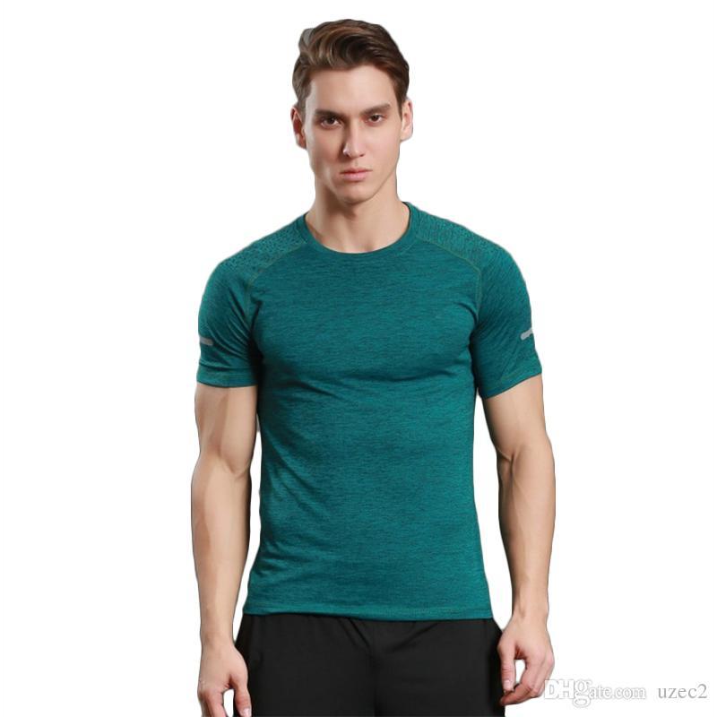 instructeur de sport masculins à manches courtes T-shirt extensible de formation en cours d'exécution costume uniformes sueur de fitness d'été collants à séchage rapide