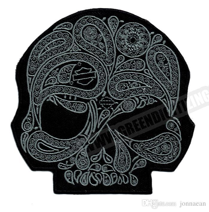 Прохладный череп цветок Серебряный мотоцикл патчи для жилет куртка вышивка панк байкер патч DIY ткань патч Джерси знак Бесплатная доставка