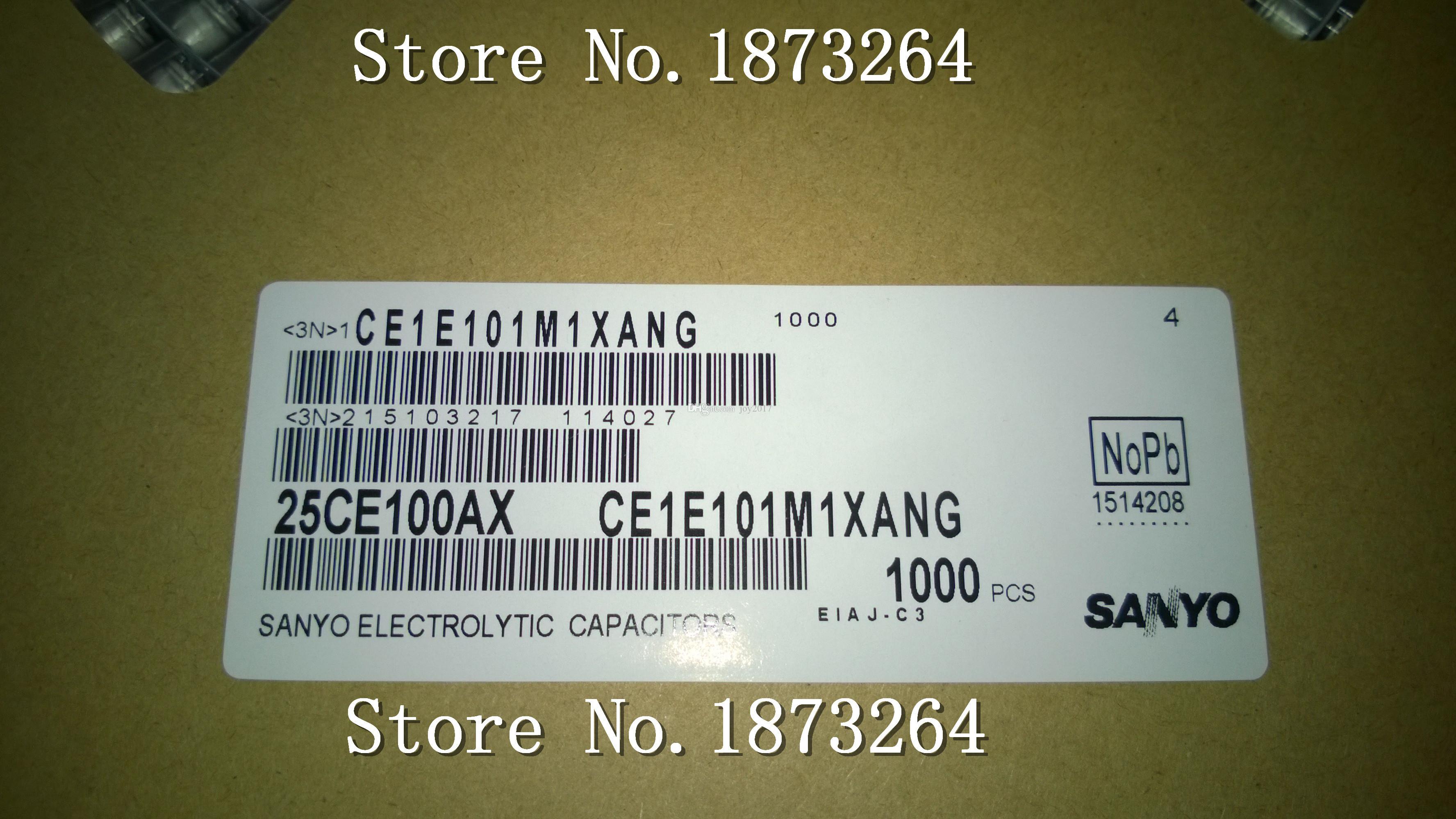 Freies Verschiffen 25CE100AX CE1E101M1XANG 100UF 25V SMD ursprüngliches und neues 50PCS / LOT