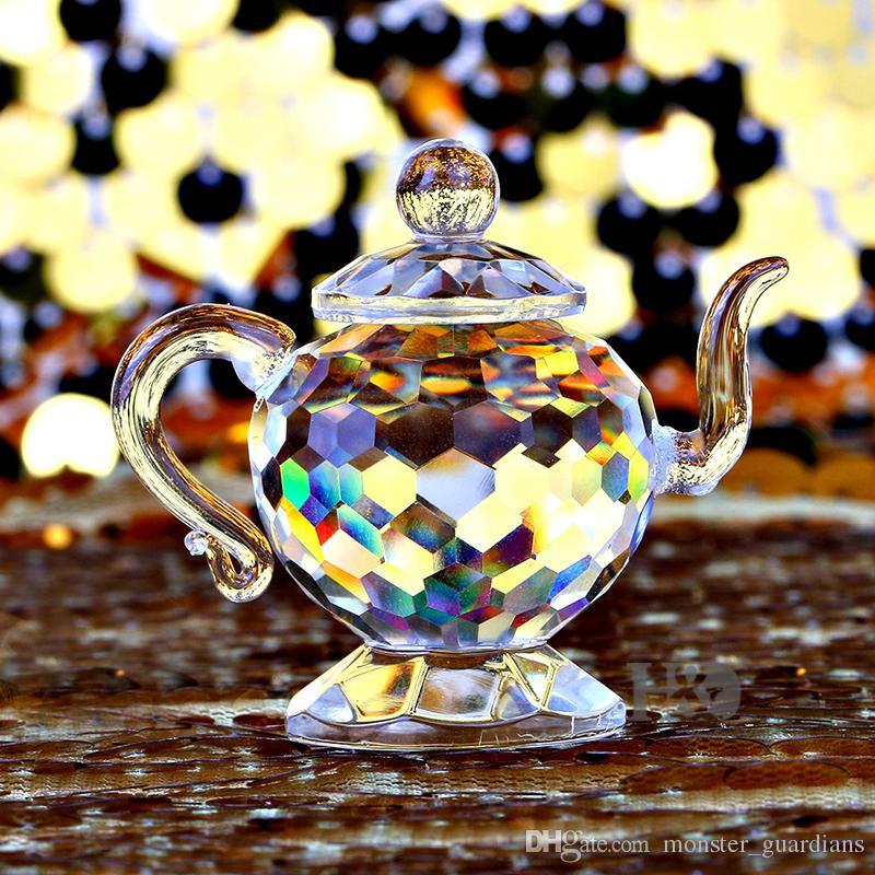 Théière en cristal clair Figurines Paperweight Artisanat ArtCollection Souvenir d'anniversaire de Noël Cadeaux de mariage Décoration