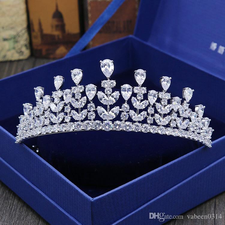 Ornamenti per capelli da sposa con zirconi completi e coroncine da sposa high-end con micro-intarsi accessori per abiti da sposa