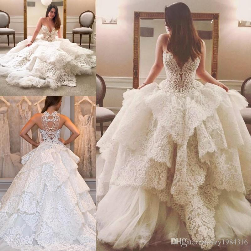 2019 последняя весна очаровательное свадебное платье без бретелек бисером жемчуг назад зашнуровать свадебные платья стильные кружева слоистых тюль свадебные платья
