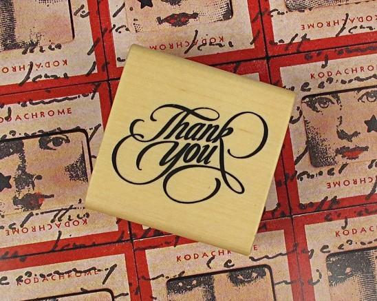 """Timbro """"Grazie"""", francobolli in legno, francobollo regalo fai da te in stile vintage 4x4cm (20 pezzi / lotto)"""
