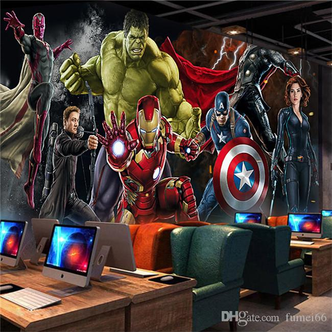 carta da parati Avengers Foto sfondo personalizzato 3D per pareti uomo Hulk Ferro Capitan America per parete Ragazzi soggiorno camera da letto ristorante di design