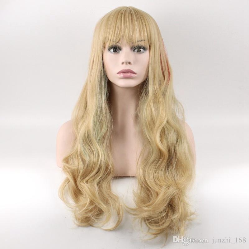 Mesdames Longues Bouclés Ondulés Résistant À La Chaleur Cosplay Perruque Femmes Cheveux Naturels Lin Lin Perruques Synthétiques Avec Bangs Livraison gratuite