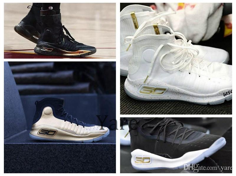 Stephen Curry 4 IV Basketball Shoes Currys 4 White Black Gold Men MVP CHAMPIONSHIP Lonzo Sports Shoes Youth Training Sports Sneakers 7 12 Kids