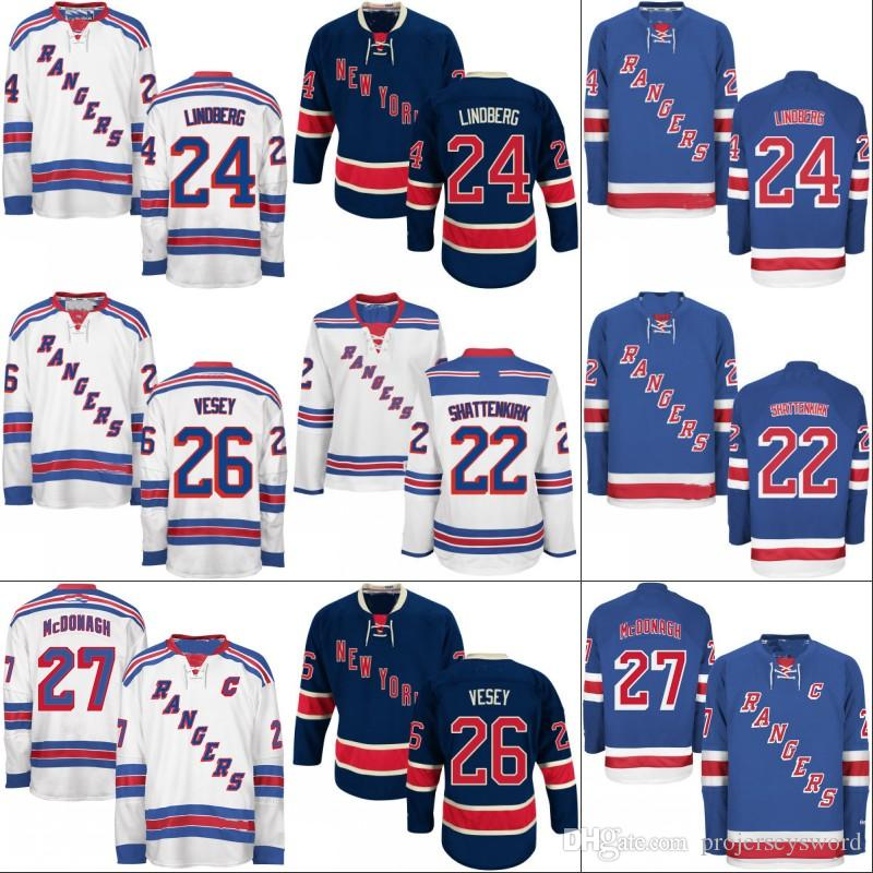 Youth Kids New York Rangers Jersey 22 Kevin Shattenkirk 26 Jimmy Vesey 30 Henrik Lundqvist 36 Mats Zuccarello Custom Hockey Jerseys
