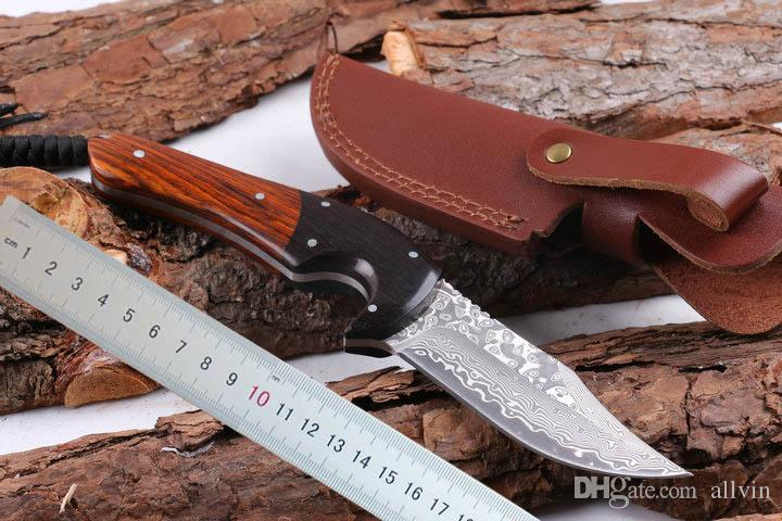 Top Quality Damascus Steel Survival Straight Hunting Knife 58HRC Rosewood&Ebony Handle Fixed Blade Knives with Leather Sheath