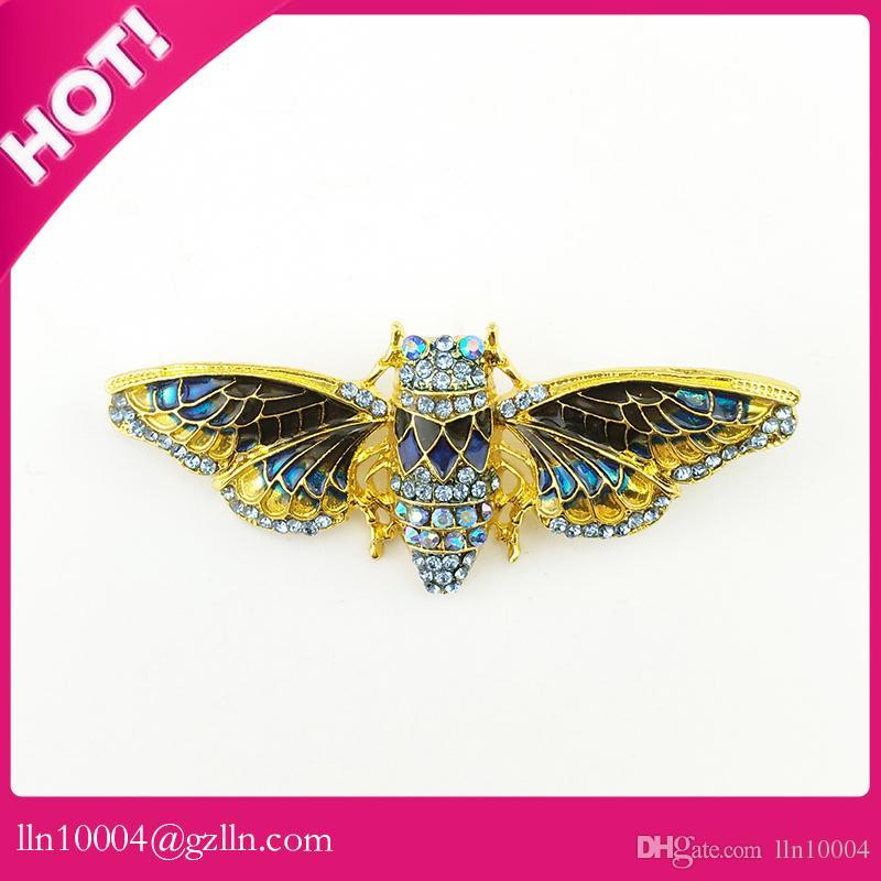 50pcs / lot vendita calda di alta qualità di vendita calda strass 65mm strass di cicala gioielli spilla pin insetto