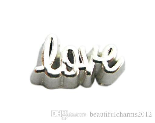20pcs / lotto argento amore lettera fascino, lega galleggiante medaglione medaglione misura per vetro collana medaglione magnetico rendendo
