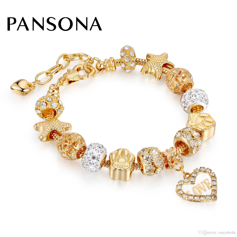 2018 новый золотой цвет Шарм браслеты для женщин змея цепи сердца браслеты браслеты DIY хрустальные бусины лапы животных следы AA144
