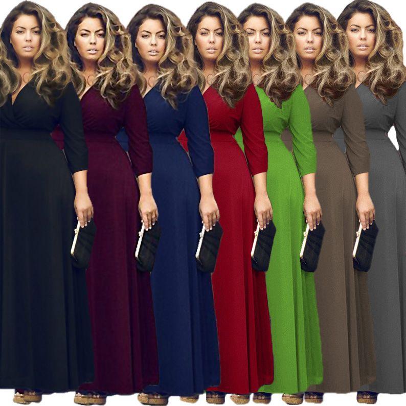 Europa sexy tallas grandes vestidos moda mujer ropa color puro mujer gorda vestido negro maxi club fiesta vestidos casuales para mujeres