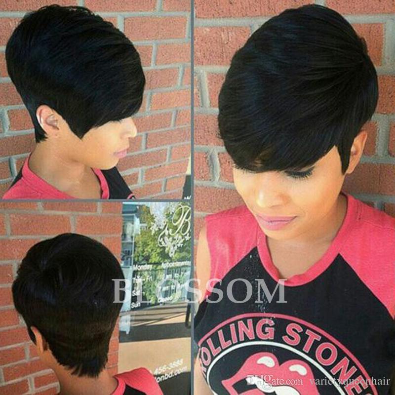 Parrucca corta in pizzo con merletto parrucca pixy capelli umani tagliati pixie parrucche piene in pizzo brasiliano parrucche brasiliane per capelli neri per donna di colore