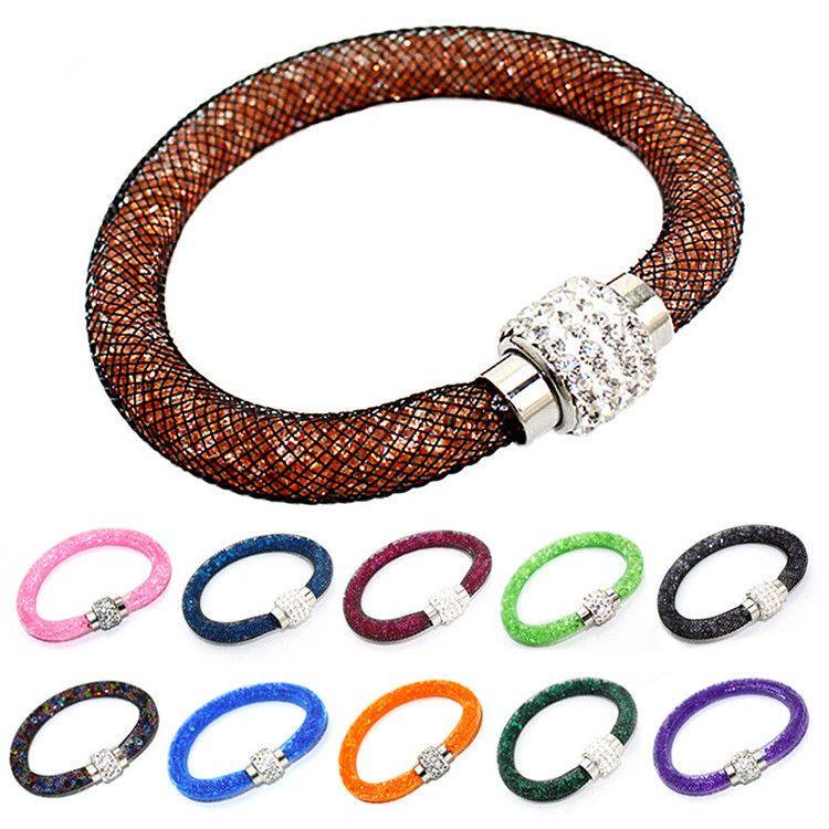 Hot Sale Button Bracelet Mesh Network Disco Crystal Bracelet Fashion Magnetic Clasp Bracelet Wristband Jewelry D093