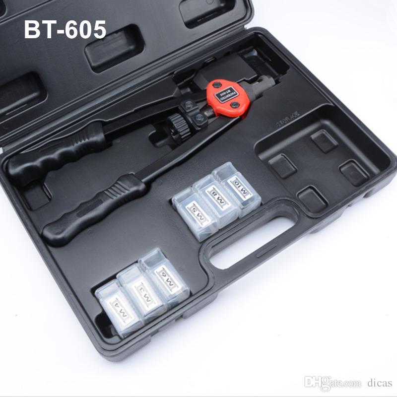 free shipping hand riveter hot sales pull rivet gun riveting nut tools plastic box package M3/M4/M5/M6/M8/M10 BT605