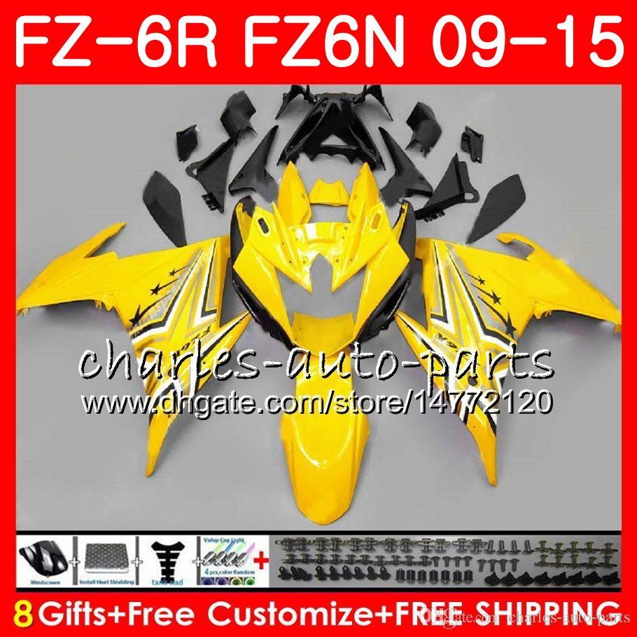 Corpo Para YAMAHA FZ6N FZ6 R FZ-6N Preto Amarelo FZ6R 09 10 11 12 13 14 15 82HM9 FZ-6R FZ 6N FZ 6R 2009 2010 2011 2012 2013 2014 2015 Carenagem