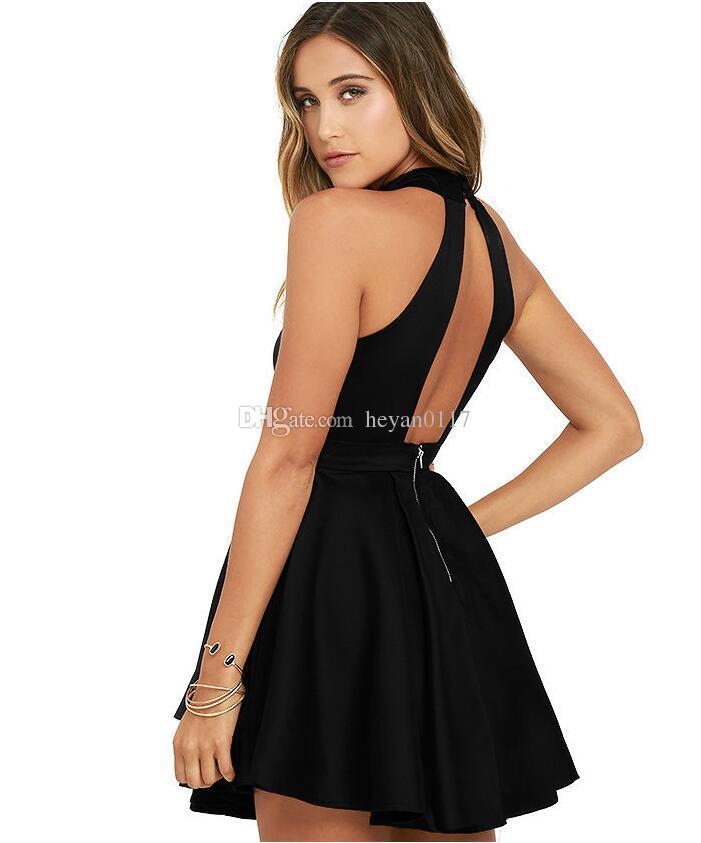 Compre Para Mujer Cóctel De Boda Lindo Club Nocturno Sexy Cuello Halter Blackless Una Línea Vestido Negro Corto Es Rojo Negro A 1424 Del Heyan0117
