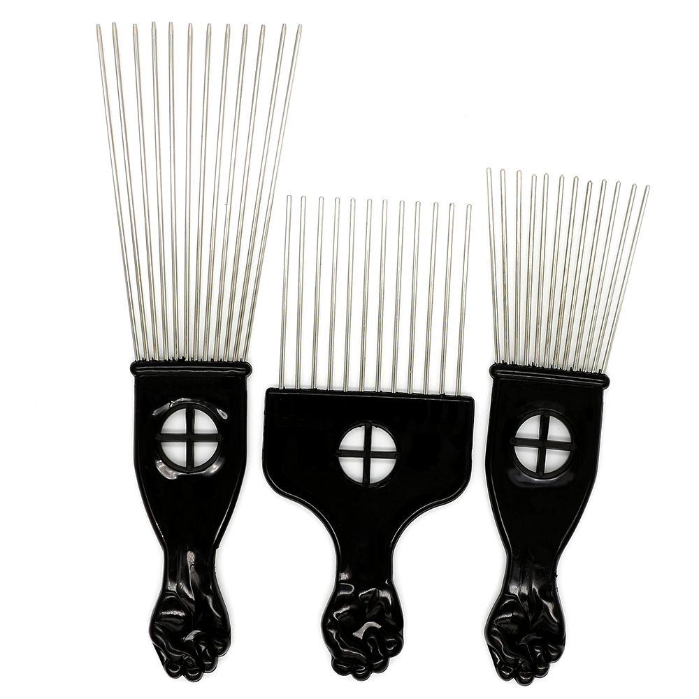 Black Plast Faust Griff Afrobürste Stanidens Stahl Wide Zähne Metall Haar Pick Afro Kamm mit Faust