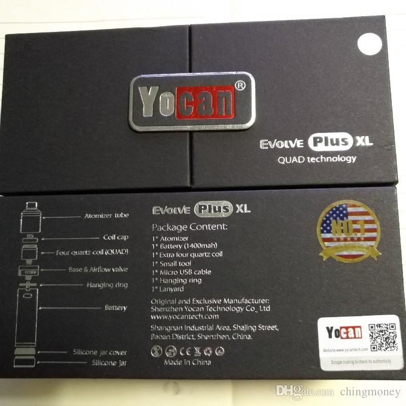 Оригинальный Yocan Evolve Plus XL стартовые наборы воск 1400mah Dab ручка испаритель комплект с силиконовой банкой Quad кварцевый стержень катушки 100% подлинный