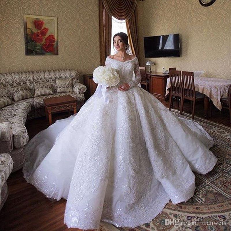 Luxury Lace Ball Gown Wedding Dresses Saudi Arabia Off The Shoulder Long Sleeve Full Lace Appliqued Sequins Bridal Gowns
