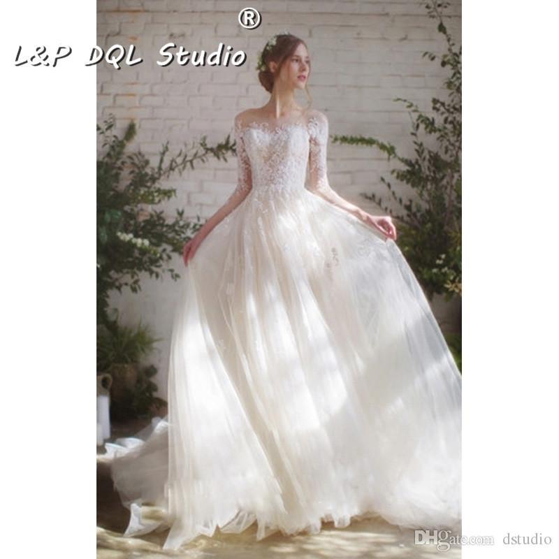 Vestidos de novia atractivos del vestido de bola Tren de la corte Ilusión del otoño invierno escarpada con los vestidos de novia del cordón de la aplicación floral