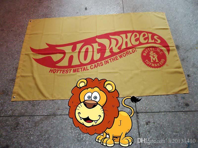 drapeau de roues chaudes, les voitures en métal les plus chaudes dans le monde 90 * 150 CM polyester bannière 100% polyester 90 * 150 cm