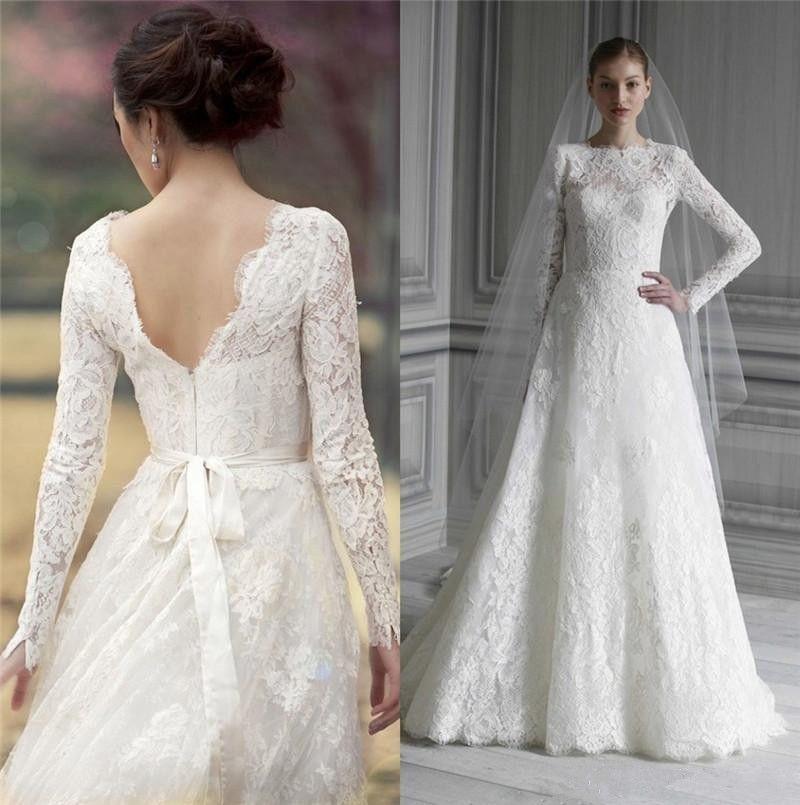 Discount 2017 Monique Lhuillier Full Lace Wedding Dresses Real ...
