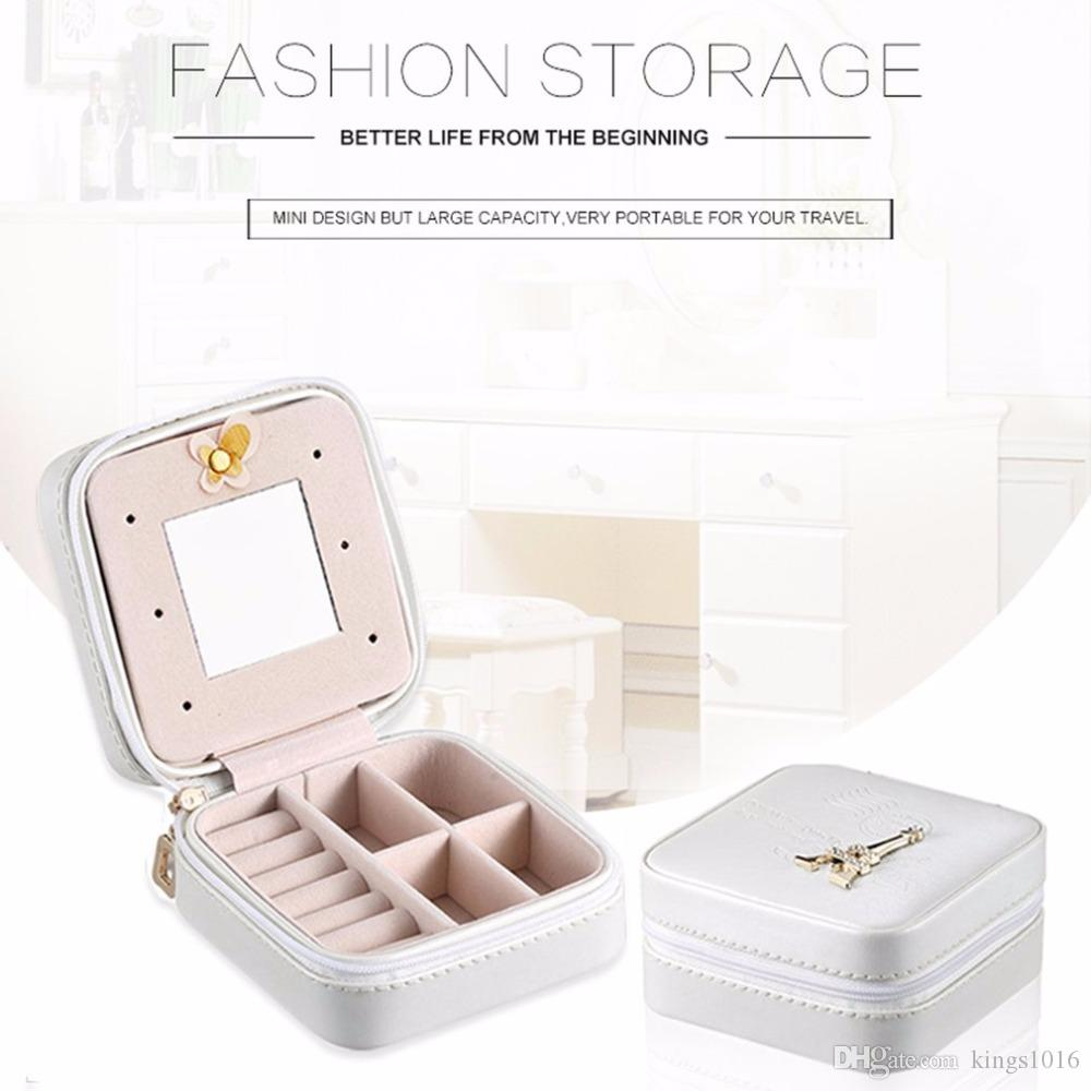 2 Color Innovative Mini PU Leather Casket For Jewelry Travel Case Ring Earrings Necklace Storage Potable Jewelry Storage Box