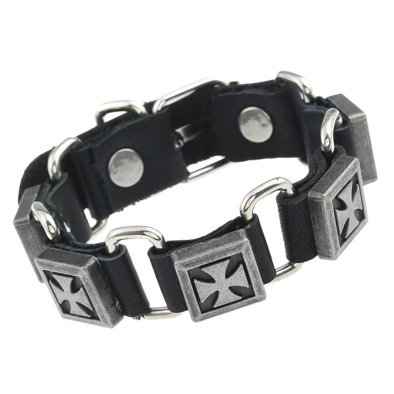 Package post sale Europe and the United States jewelry punk man woman cowhide leather bracelet with alloy cross chain sell like hot cakes
