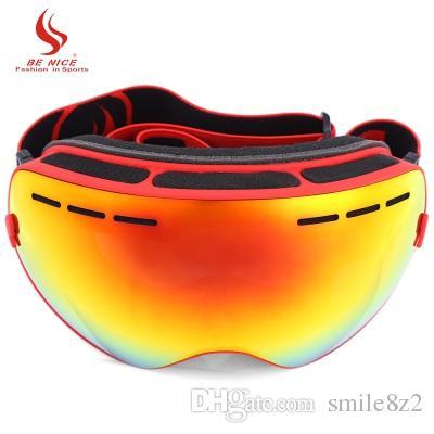 كن نيس مزدوجة عدسة UV400 مكافحة الضباب كبيرة كروية التزلج نظارات واقية الشتاء الرياضة على الجليد التزلج نظارات نظارات نظارات + B