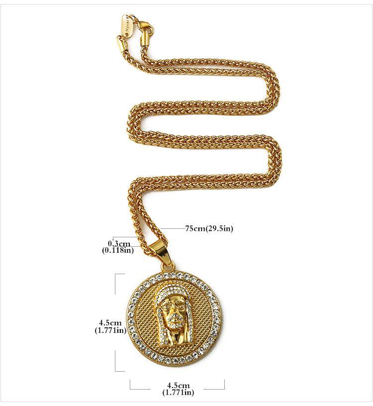 05 hip hop jesus round shape pendant necklace