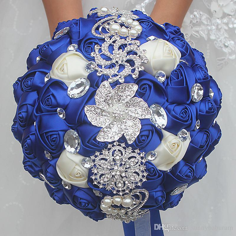 Royal Blue Wedding Bridal Bouquets Simulation Flower Wedding Supplies Artificial Flower Crystal Sweet 15 Quinceanera Bouquets W228-F