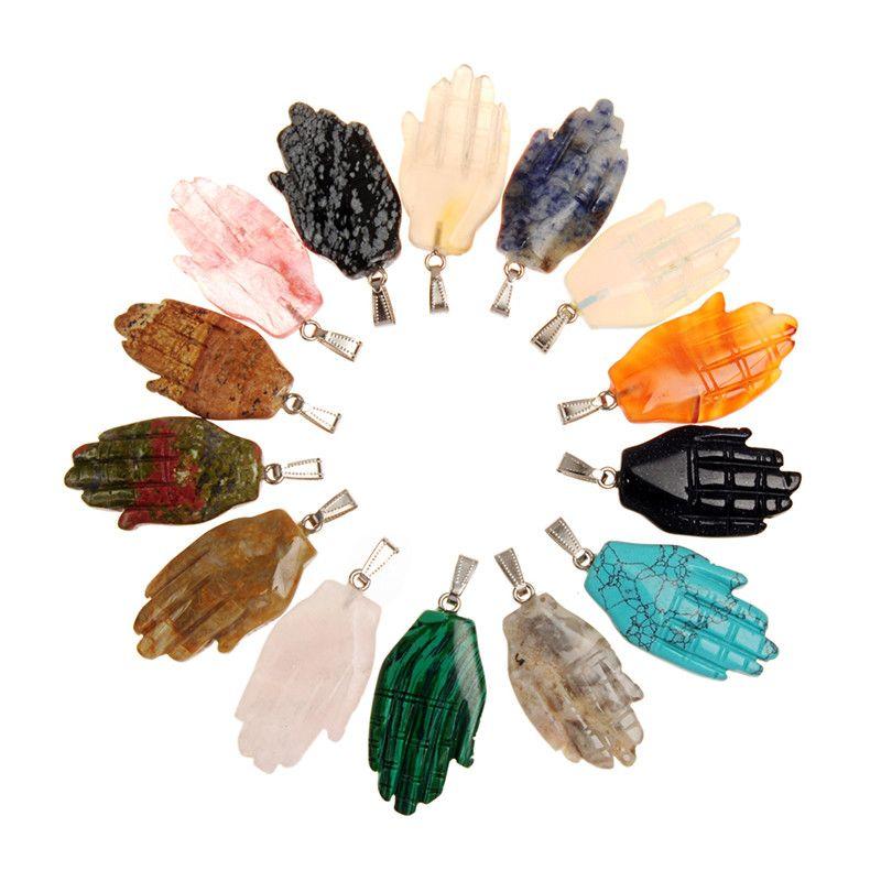 Forma de mano de lujo multicolor aleatorio copo de nieve natural obsidiana Unakite energía positiva espiritual curación colgante para DIY joyería tamaño 43 * 25 mm