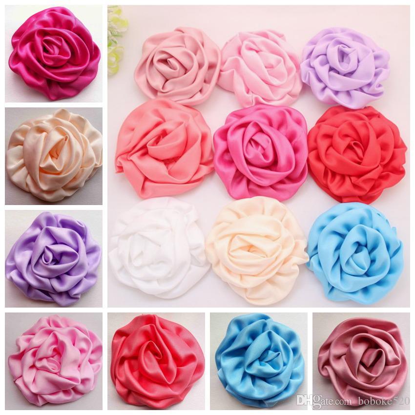 50pcs/lot Multilayer Rosette Flowers Artificial Flatback Chiffon Fabric Rose Flower DIY Wedding Headwear kids Baby Girls Hair Accessories
