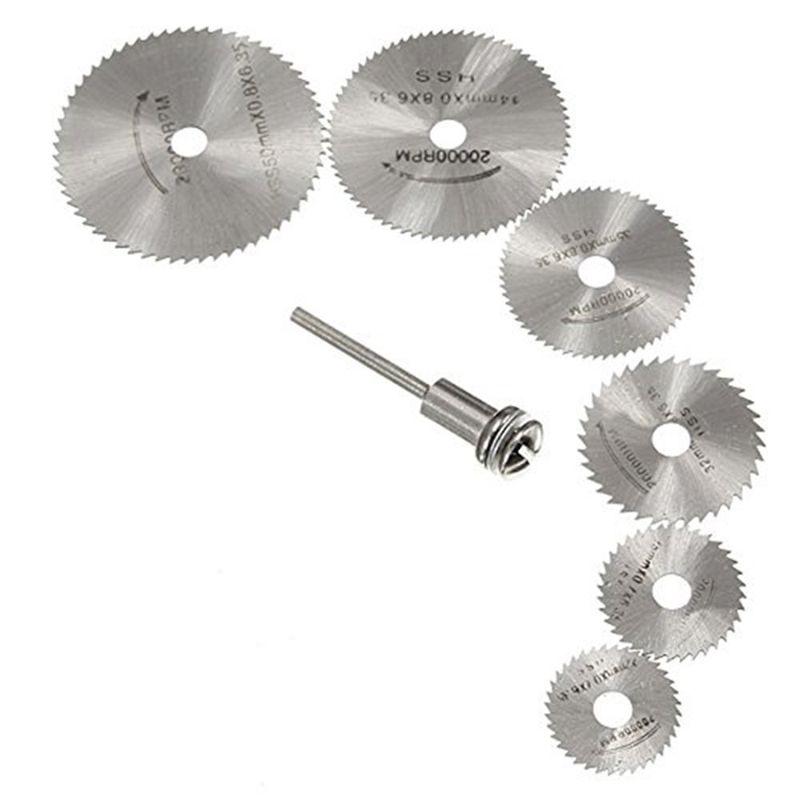 7Pcs HSS Rotary Tools Circular Saw Blades Cutting Discs Set High Quality Drill Mandrel Cutoff Cutter Power Tools Multitool