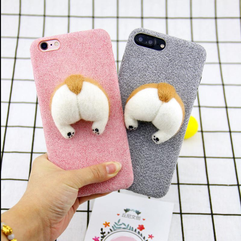 80d05370ec493b Corgi Handmake Needle Wool Felt Cute Cat Dog Butt Ass Cover For Apple  Iphone 6 6s Plus 7 7p 8 8p X Soft Mobile Phone Case Capa