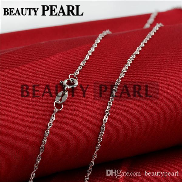 Sterling Silver DIY Jewelry Necklace Collar 1mm 925 Sterling Silver Water Wave Chain Wholesale 5 Pieces