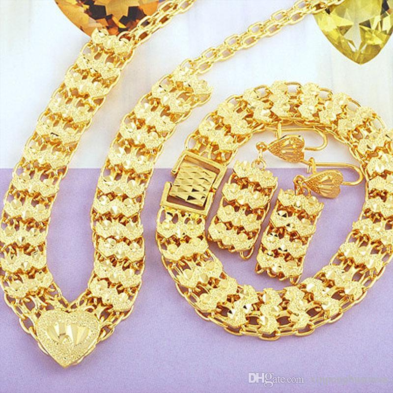 زفاف / حزب مجوهرات 24K الذهب الحقيقي الصلبة GF المرأة قلادة + سوار + أقراط مجموعة المبيعات لمدة عشر سنوات متتالية بطل