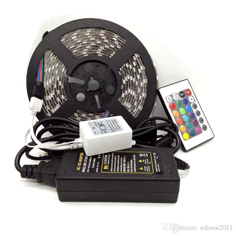Edison2011 5050 SMD striscia di RGB LED 300 LED impermeabile + 24 IR chiave a distanza del regolatore + Power Supply (12V / 5A)