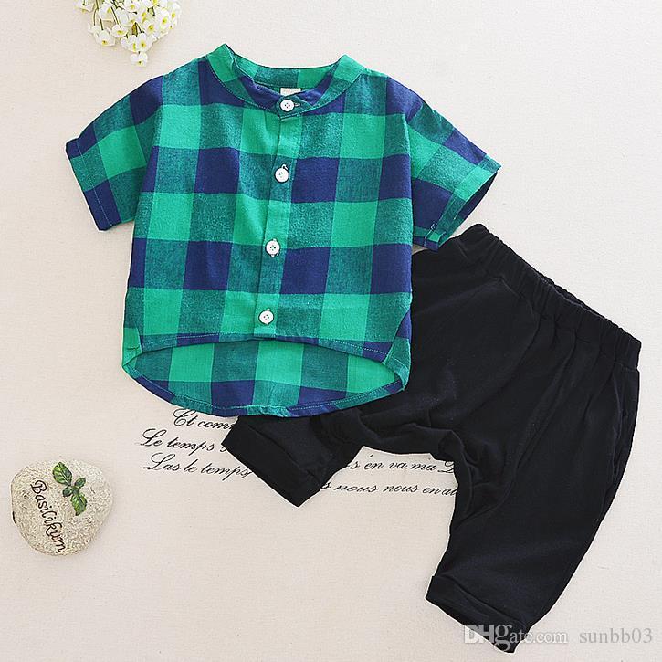 Camicia a quadri per bambini in estate Camicia a quadri per bambini in estate + Pantaloni Harem medi 2 pezzi Completi per bambini Set di abiti per ragazzo 13166
