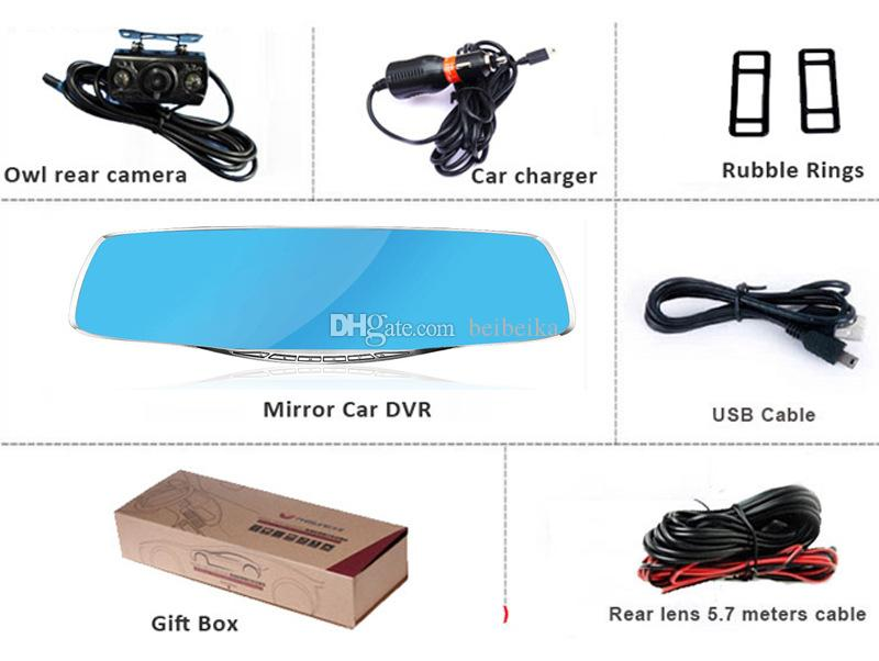 4.3 inch HD Blue LCD Screen Android GPS Navigation Mirror Car DVR Dual Lens Blue Mirror Rear view car dvr
