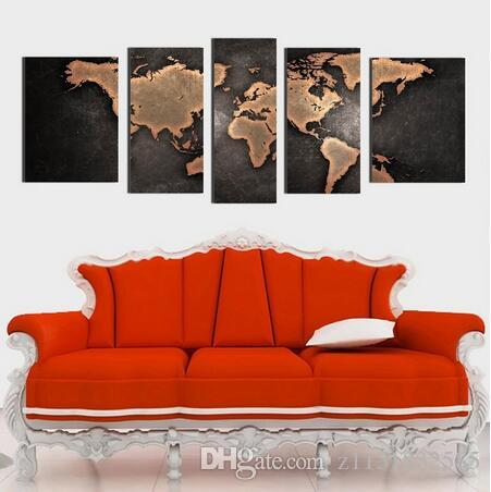 World Map 1set Of 5pcs Canvas Painting Modern Abstract Wall Art Decor Oil Picture On Canvas For Home Living Room Stickers Color Multicolor