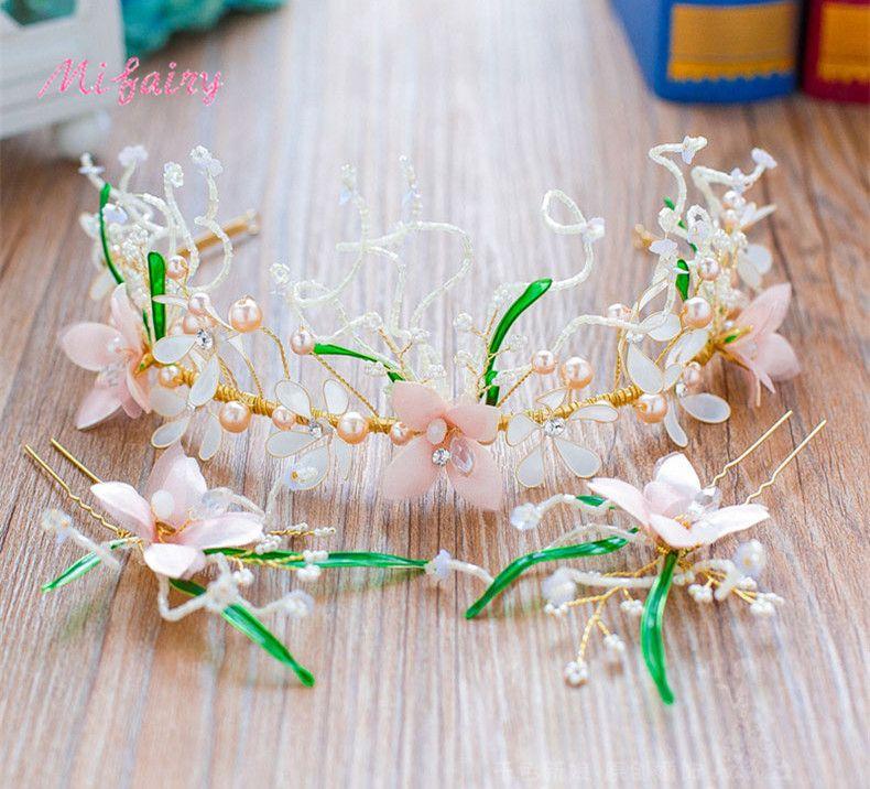 Mezze fiori fatti a mano perline Mezze corone da sposa Imposta acconciature d'oro per la sposa Set di posticci della Boemia H37-2