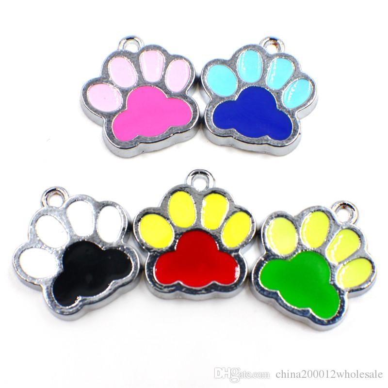 Mixed Colorful 50pcs HC357 Pretty Enamel Cat Dog/Bear Paw Prints hang pendant fit Rotating Key Chain Keyrings bag Jewelry Making