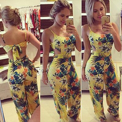 Al por mayor-Mono de las mujeres 2016 Summer Sexy Playsuit Bodycon Party estampado floral Mono mameluco pantalones Clubwear Body shippin libre