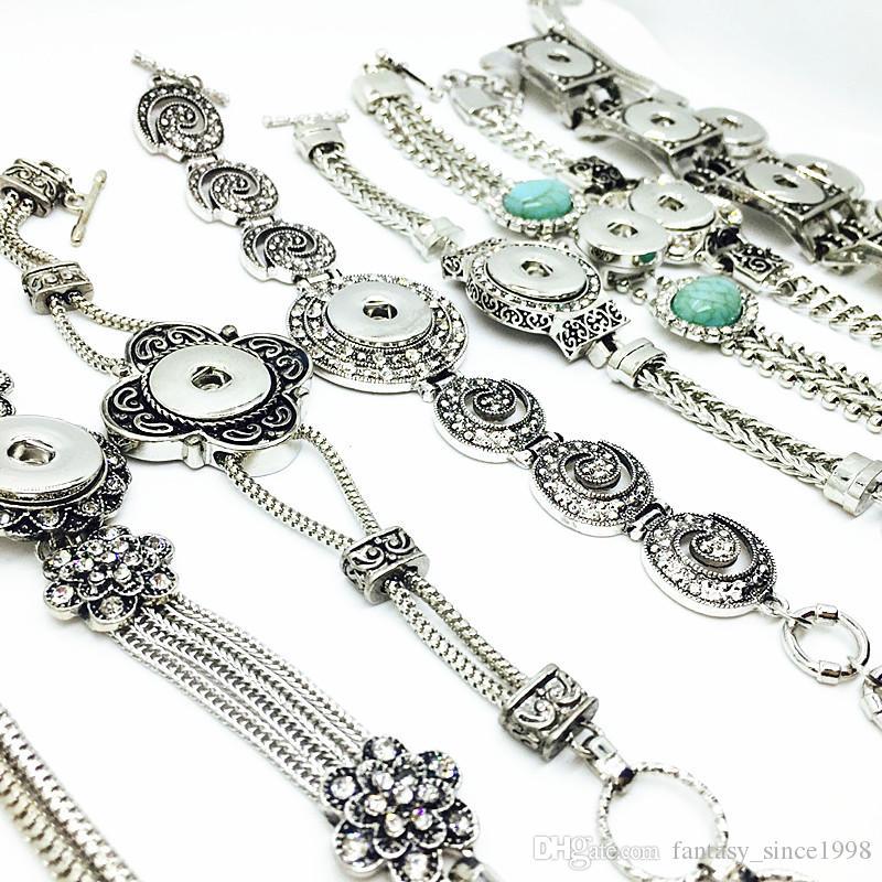 10 шт. / Лот микс стили женщины античное серебро мода имбирь 18 мм кнопки защелки прелести браслеты diy Snap ювелирные изделия подарки