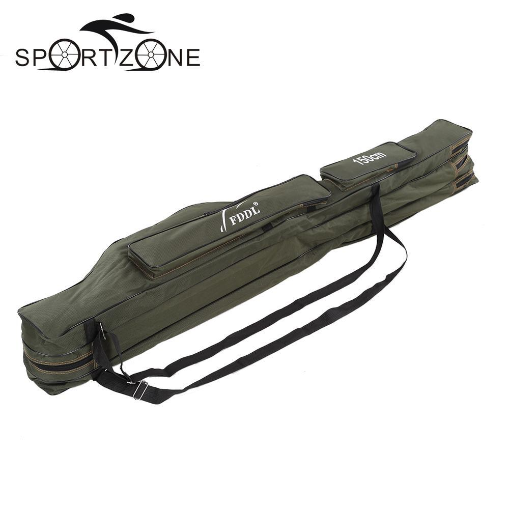 120cm 130cm 150cm Canvas Fishing Bags Foldable Fishing Rod Carrier Fishing Pole Tools Storage Bag Case Large Capacity Pesca Bag