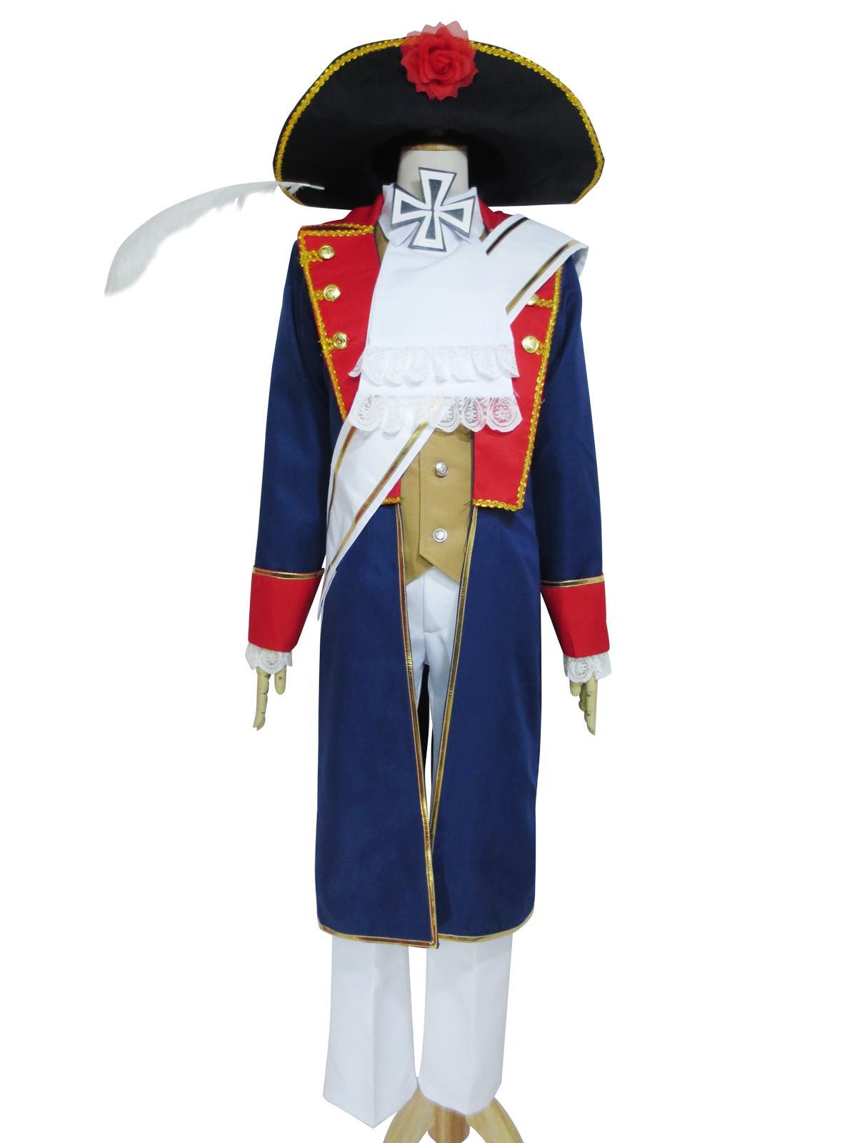 Axis Powers Hetalia Prussia Halloween Uniform Set With Hat Cosplay Costume