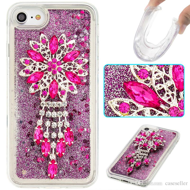 Bling Diamond Cover Crystal TPU Quicksand Clear Colorful Accessories case for iphone 7 plus 6S plus 5S SE 4S 5C touch 5/6