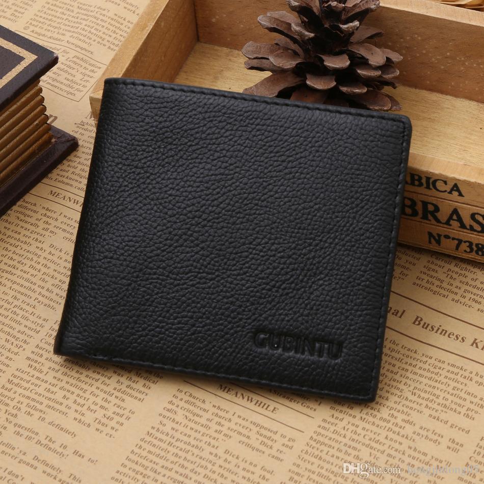 Business Herren Geldbörsen Mode Echtes Leder Kurze Carteras Schwarz Kaffee Einfarbig 3 Falten Kreditkarteninhaber Geldbörse Brieftasche